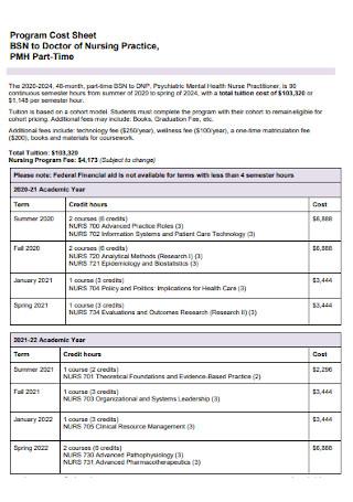Program Cost Sheet
