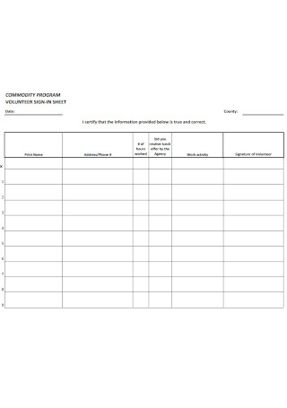 Program Volunteer Sign in Sheet