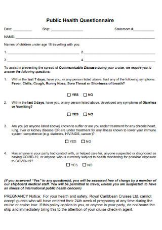Public Travel Health Questionnaire
