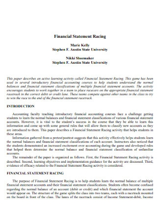 Racing Financial Statement Template