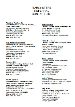 Referral Contact List