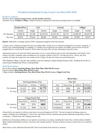 Residential Living Yearly Cost Sheet