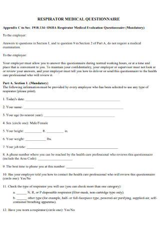 Respirator Medical Questionnaire Template