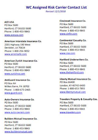 Risk Carrier Contact List