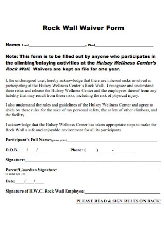 Rock Wall Waiver Form