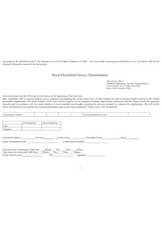 Rural Household Survey Questionnaire