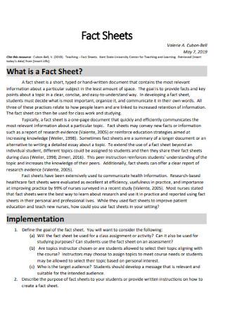 Sample Fact Sheet Template
