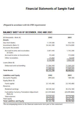 Sample Fund Financial Statements