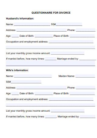 Sample Questionnaiire for Divorce