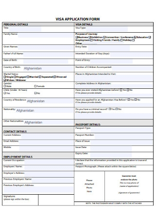 Sample Visa Application Form