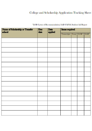 Scholarship Application Tracking Sheet