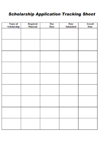 Scholarship Application Tracking Sheets