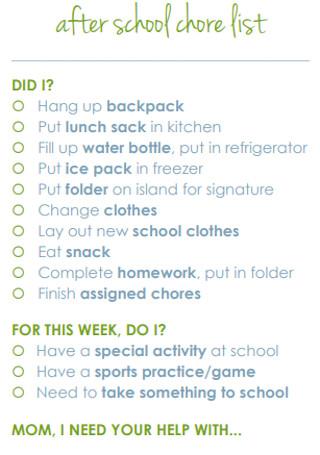 School Chore List