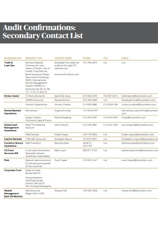Secondary Contact List