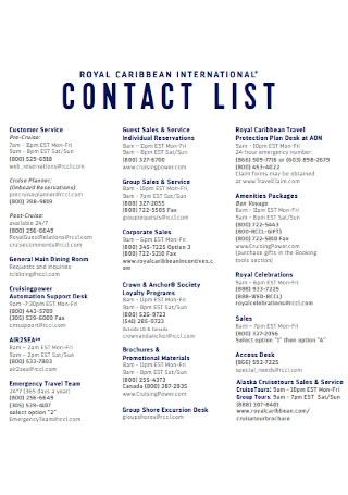 Simple Contact List Template