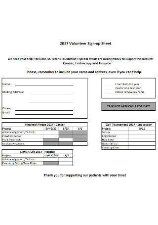 Simple Volunteer Sign up Sheet