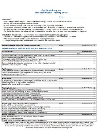 Skill Set Personal Tracking Sheet