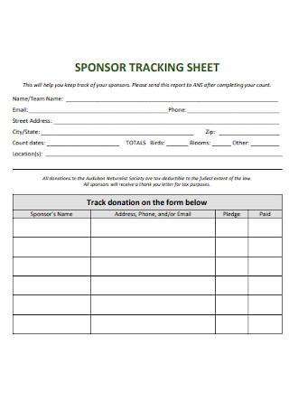 Sponsor Tracking Sheet
