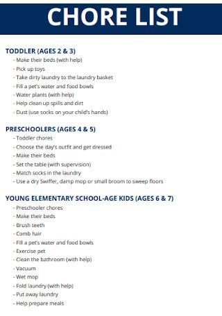 Standard Chore List Template