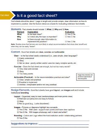 Standard Fact Sheet Template