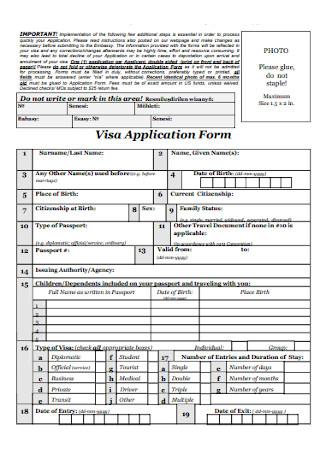 Standard Visa Application Form