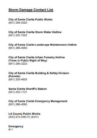 Storm Damage Contact List