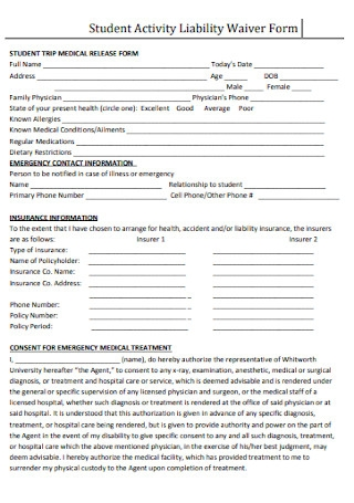 Student Activity Liability Waiver Form