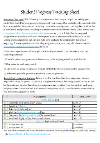 Student Progress Tracking Sheet