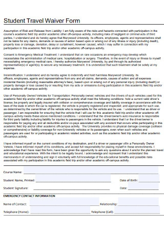 Student Travel Waiver Form