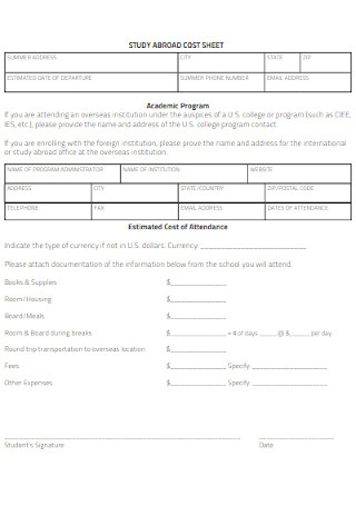 Study Abroad Cost Sheet