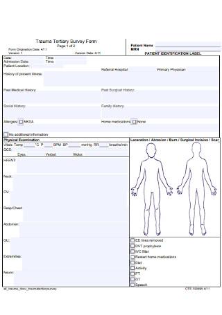 Tertiary Survey Form