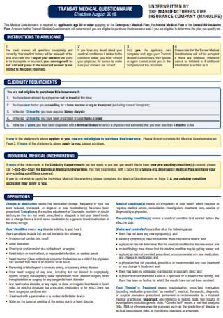 Transat Medical Questionnaire