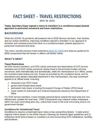Travel Fact Sheet