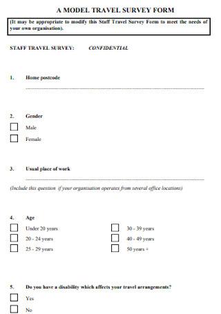 Travel Survey Form