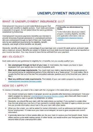Unemployement Insurance Fact Sheet