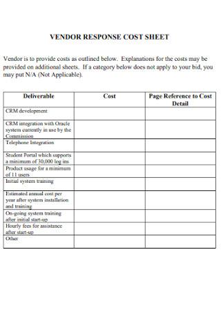 Vendor Responce Cost Sheet