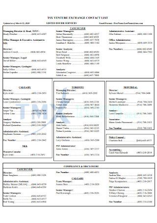Venture Exchange Contact List