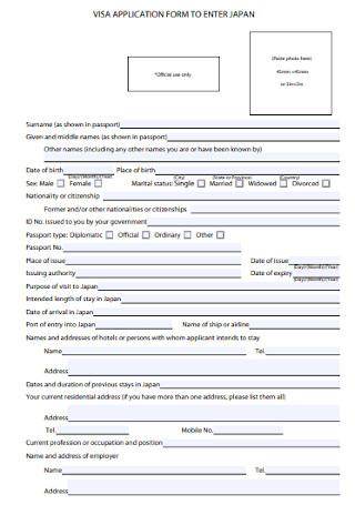 Visa Application Form Format
