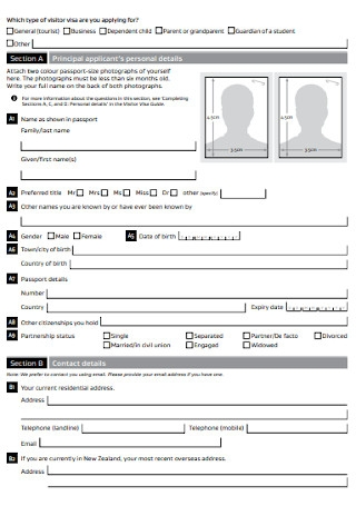 Visitor Visa Application Form