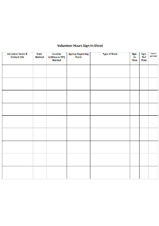 Volunteer Hours Sign In Sheet
