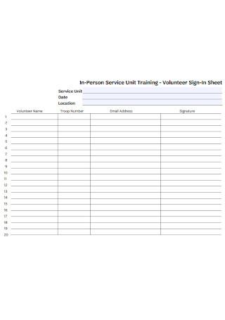 Volunteer Training Sign In Sheet