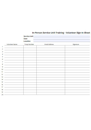 Volunteer Training Sign In Sheets Template