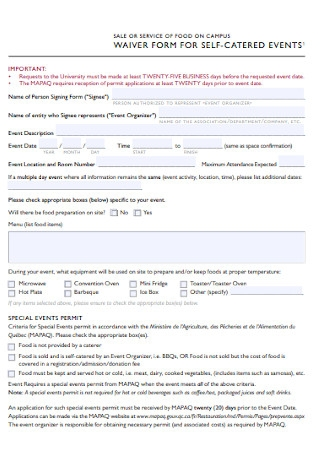 Waiver Form for Events