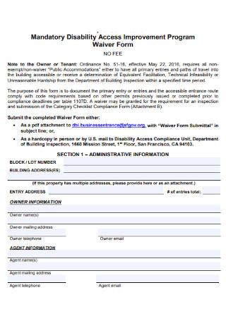 Waiver Program Form