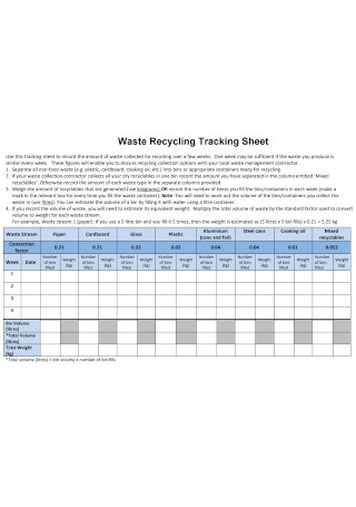 Waste Recycling Tracking Sheet