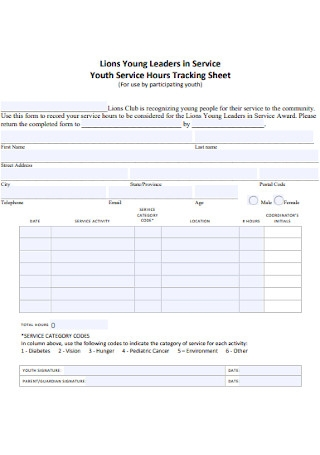 Youth Service Hours Tracking Sheet