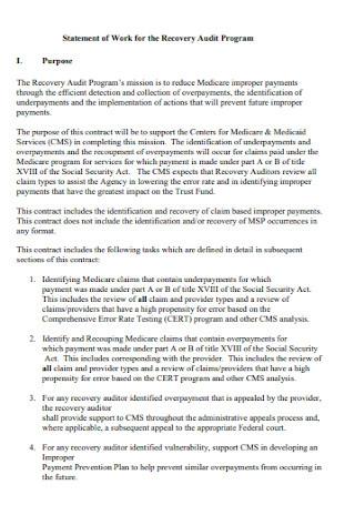 Audit Program Work Statement Template