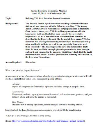 Basic Impact Statement Template