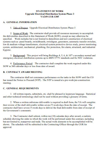 Electrical Work Statement Template