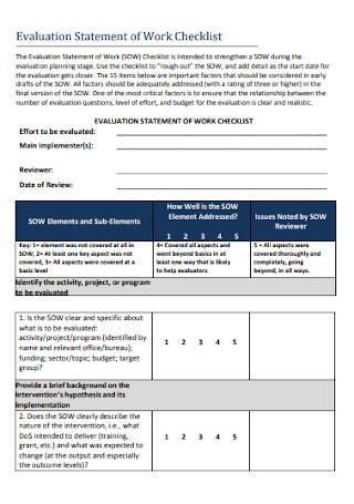 Evaluation Statement of Work Checklist